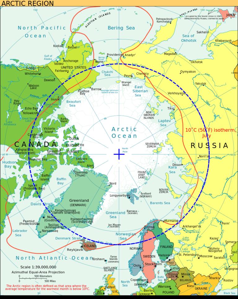 Kota-kota yang berada di Lingkaran Arktik (garis putus-putus berwarna biru). Sumber: CIA World Fact Book